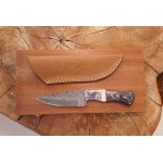 Ztefan Damascus steel knife NM-013 set with an exotic wood box