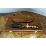 Ztefan Damascus steel knife NM-019 set with an exotic wood box
