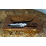 Ztefan Damascus steel knife NM-021 set with an exotic wood box