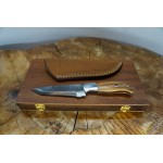 Ztefan Damascus steel knife NM-023 set with an exotic wood box