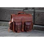 Ztefan Brown leather bag for motor / scooter / bike MK-01