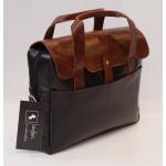 Ztefan Black leather laptop bag / briefcase PC-02