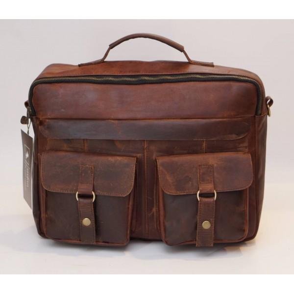 Ztefan Brown leather laptop bag / briefcase PC-04