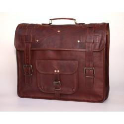 Ztefan Brązowa skórzana torba na laptopa / aktówka TK-031