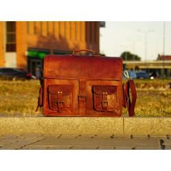 Ztefan Brown leather laptop bag / briefcase TK-051
