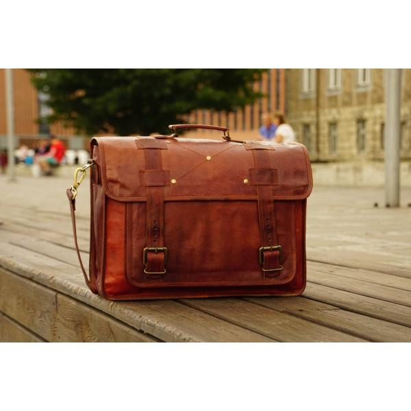Ztefan Brązowa skórzana torba na laptopa / aktówka TK-061