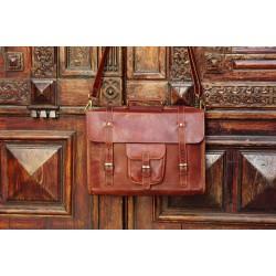 Ztefan Brown leather laptop bag / briefcase TK-071
