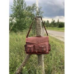 Ztefan Brown leather laptop bag / briefcase TK-091