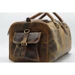 Ztefan Weekend bag made of genuine leather Hunter Brown ZT-01