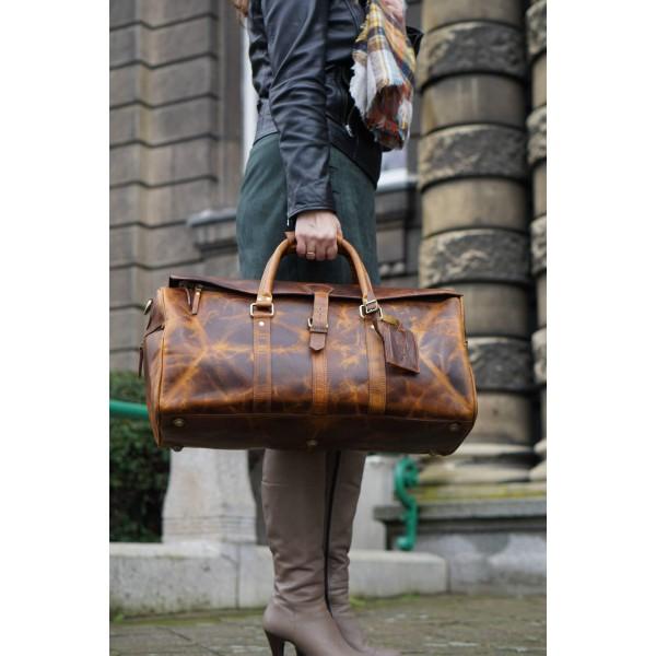 Ztefan Original leather weekend travel bag made of buffalo leather Hunter Brown ZT-23