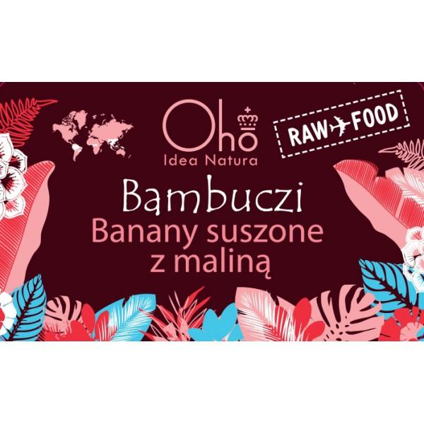 Oho Natura BAMBUCZI Banany suszone z maliną 50g