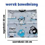 BabyBall Worek do przedszkola do żłobka dla dzieci bawełniany kolorowy mały - turkusowe sowy
