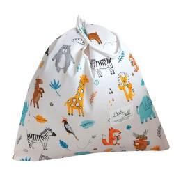 BabyBall Worek na buty bawełniany na kapcie dla przedszkolaka do żłobka mały - zoo
