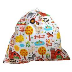 BabyBall Worek bawełniany na buty kapcie dla przedszkolaka do żłobka mały - farma