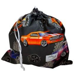 BabyBall Worek na buty kapcie do żłobka przedszkola bawełniany kolorowy - auta