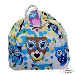 BabyBall Worek na kapcie buty do przedszkola do żłobka kolorowy bawełniany mały - niebieskie sowy