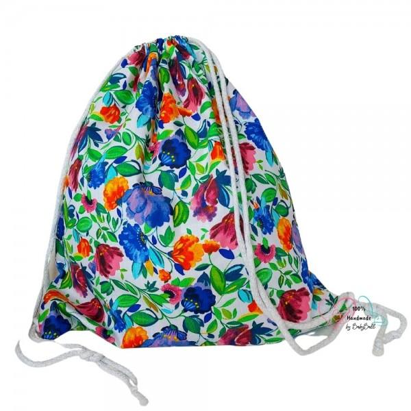 BabyBall Worek plecak na buty kapcie do przedszkola żłobka bawełna MAŁY - łączka