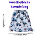 BabyBall Plecak na buty kapcie do przedszkola żłobka worek bawełna mały - auta ciężarowe