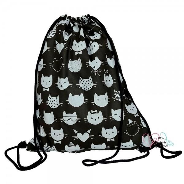 BabyBall Plecak na buty kapcie do przedszkola żłobka worek bawełna duży - koty