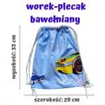 BabyBall Worek na buty kapcie do przedszkola żłobka plecak bawełniany MAŁY - autka