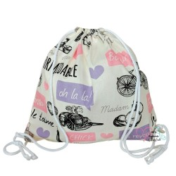 BabyBall Worek na buty kapcie do przedszkola żłobka plecak bawełna mały - różowy paryż