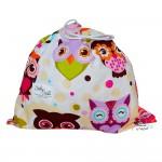 BabyBall Worek na buty, kapcie do żłobka przedszkola mały kolorowy – różowe sowy